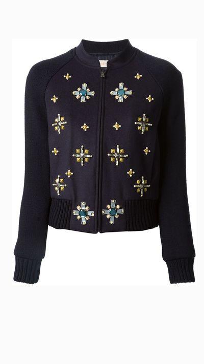 """<a href=""""http://www.farfetch.com/au/shopping/women/tory-burch-gem-embellished-bomber-jacket-item-10839233.aspx"""" target=""""_blank"""">Gem Embellished Bomber Jacket, $490.21, Tory Burch</a>"""