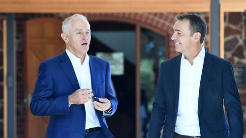 South Australian Liberal leader Steven Marshall (right) with Australian Prime Minister Malcolm Turnbull leave the Wirra Wirra Vineyards in McLaren Vale. (AAP)