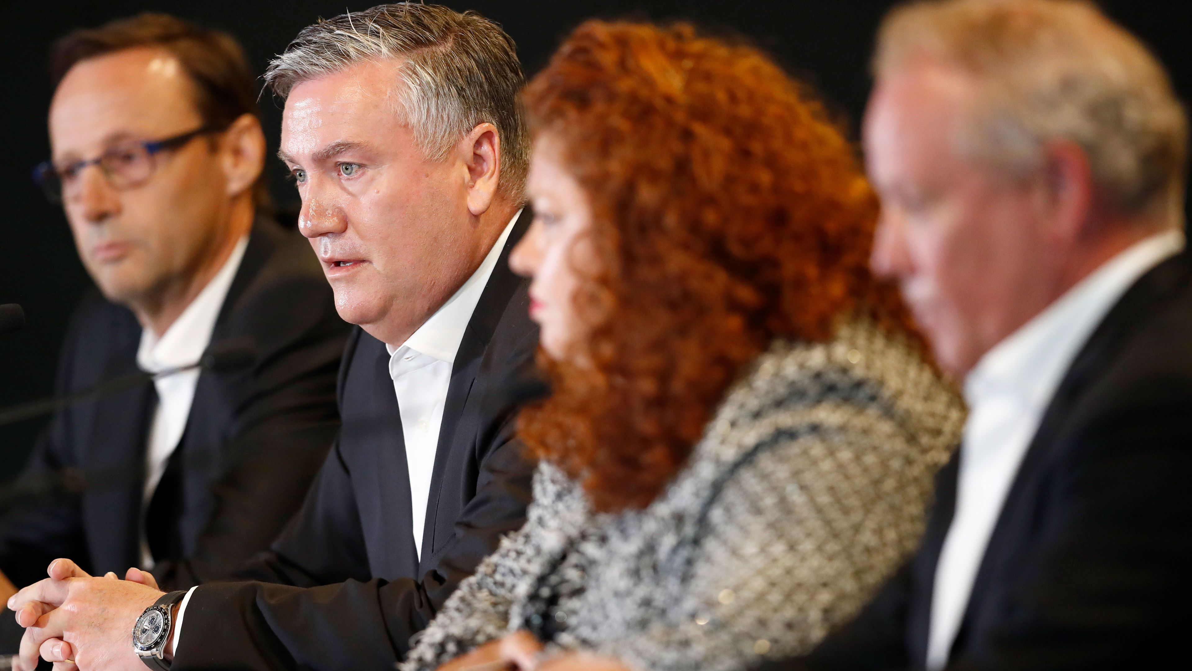 Collingwood powerbrokers slammed for 'spin' in press conference addressing racism report