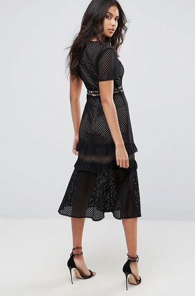 "<a href=""http://www.asos.com/au/boohoo/boohoo-crochet-insert-cap-sleeve-midi-dress/prd/8654988?clr=black&cid=9419&pgesize=36&pge=0&totalstyles=520&gridsize=3&gridrow=2&gridcolumn=1"" target=""_blank"">ASOS Boohoo Crochet Insert Cap Sleeve Midi Dress, $90.</a>"