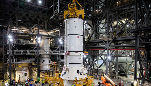 The solid rocket boosters are the first components of the SLS rocket to be stacked and will help support the remaining rocket pieces and the Orion spacecraft.