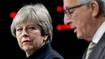 European Commission President Jean-Claude Juncker, right, and British Prime Minister Theresa May. (AP)