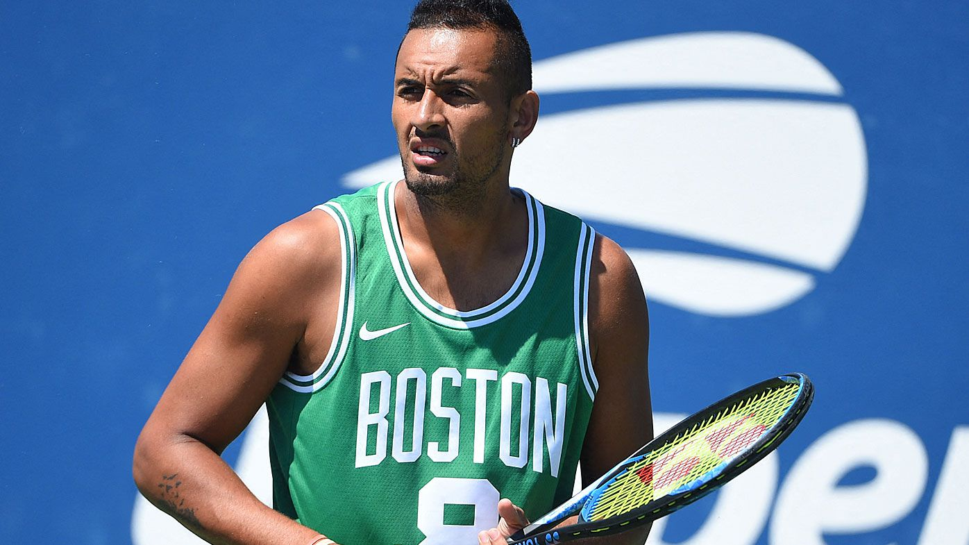 Nick Kyrgios practicing before the US Open
