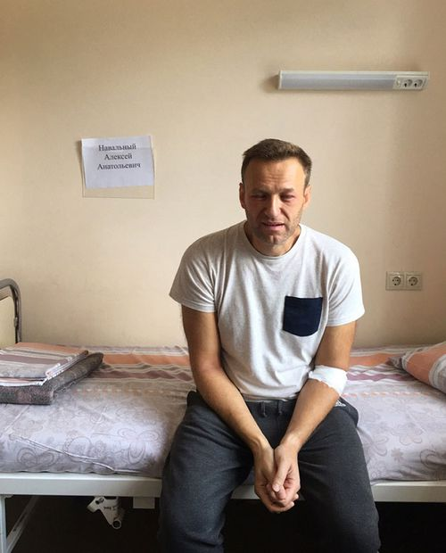 This Monday, July 29, 2019 handout photo released by navalny.com shows Alexei Navalny, Russia's most prominent opposition figure, sitting on a bed in a hospital, in Moscow, Russia. Russian opposition leader Alexei Navalny was discharged from a hospital Monday even though his physician raised suspicions of a possible poisoning after he suffered facial swelling and a rash while in jail