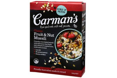 Carman's Classic Fruit and Nut Muesli: More than 2.5 teaspoons of sugar