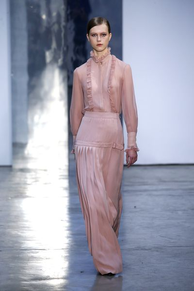 <p>Pantone's feminine, soft shade of the season is Ballet Slipper. The perfect pink needed to lighten a gloomy winters day. </p> <p>Carolina Herrera, A/W 17.</p>