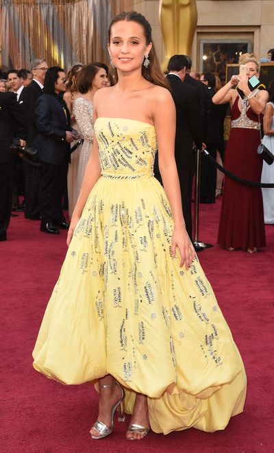 "<p>Alicia Vikander in Louis Vuitton.</p> <p>""I think if you would've asked 5-year-old Alicia what her biggest dream was, it was probably to be Belle"" Alicia told <em>ET</em>. This LV number was based on the ballgown from <em>Beauty and the Beast</em>.</p>"