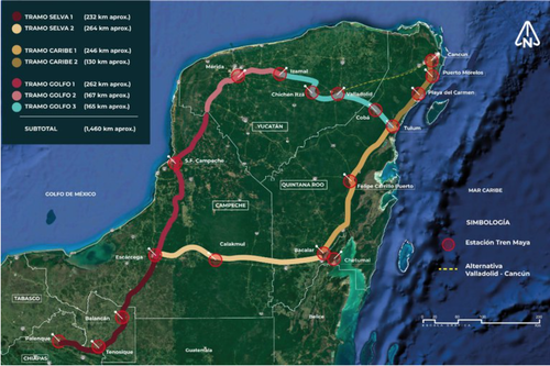 Map details the route of the proposed Maya Train project on the Yucatan peninsula.