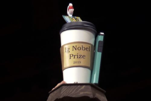 The 2019 Ig Nobel award is displayed at the 29th annual Ig Nobel awards ceremony at Harvard University in Cambridge, Mass. The spoof prizes for weird and sometimes head-scratching scientific achievement (AP Photo/Elise Amendola, File)