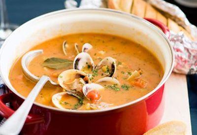 """Recipe:&nbsp;<a href=""""/recipes/other/8348911/manhattan-clam-chowder"""">Manhattan clam chowder</a>"""