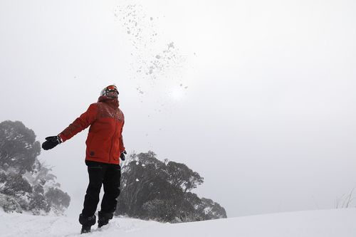 More than 51 snow guns were put into action yesterday after 10cm of snow fell over that resort. Picture: Supplied.