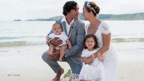 Thurston on his wedding day with wife Sam.