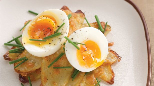 Potato stacks and soft boiled eggs