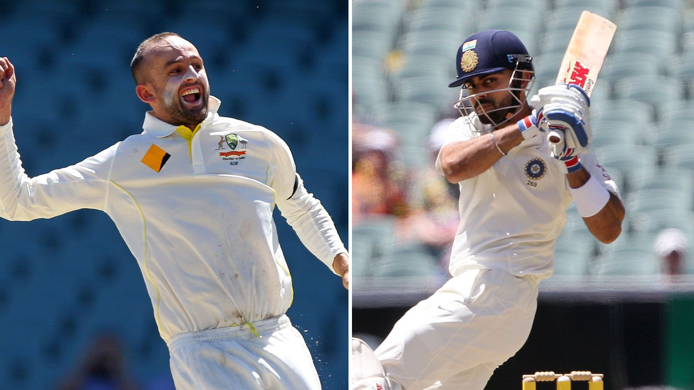 Nathan Lyon (left) and Virat Kohli