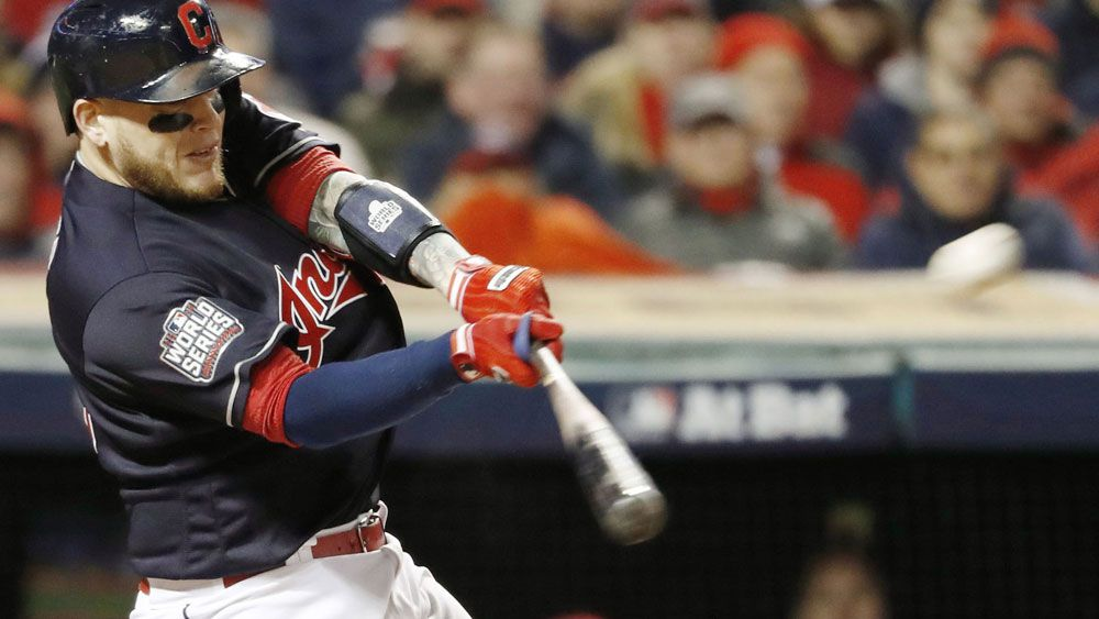 Roberto Perez hit two home runs in the Indians' win. (AAP)