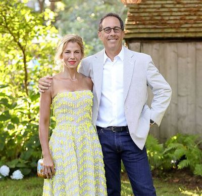 Jerry and Jessica Seinfeld at the Net-a-porter x GOOD + Foundation summer 2018 dinner at the Seinfeld's estate. <div>&nbsp;</div>