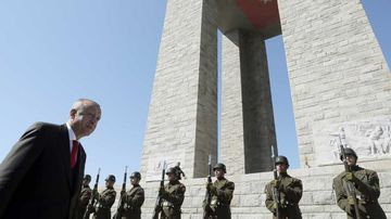 President Recep Tayyip Erdogan at the Gallipoli memorial earlier this week.