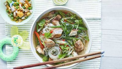 "Recipe:&nbsp;<a href=""http://kitchen.nine.com.au/2017/08/29/11/16/chicken-laksa-with-a-side-of-chinese-chicken-for-baby"" target=""_top"">Chicken laksa with a side of Chinese chicken for baby</a>"