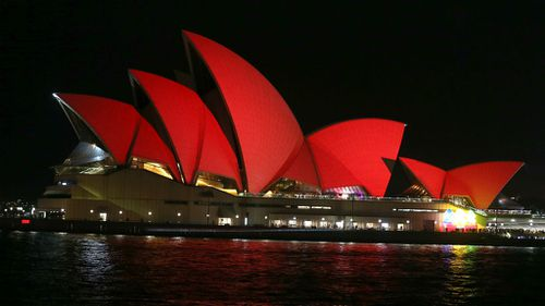 Sydney lit up red to celebrate Year of the Monkey