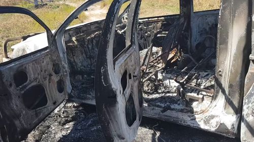 The charred remains of the ute were found several hours later. (9NEWS)