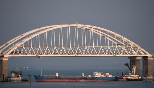 The new bridge across the Kerch Strait linking Russia's Taman Peninsula with Crimea,.