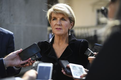 Foreign Minister Julie Bishop speaks to the media during a press conference in London on the Commonwealth Heads of Government Meeting (CHOGM). (AAP)