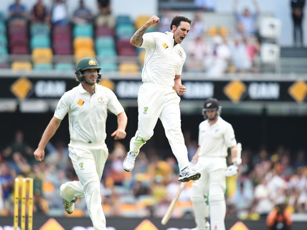 Mitchell Johnson celebrates his dismissal of Ross Taylor. (AAP)