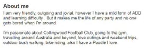 Zillner describes himself in the online profile.