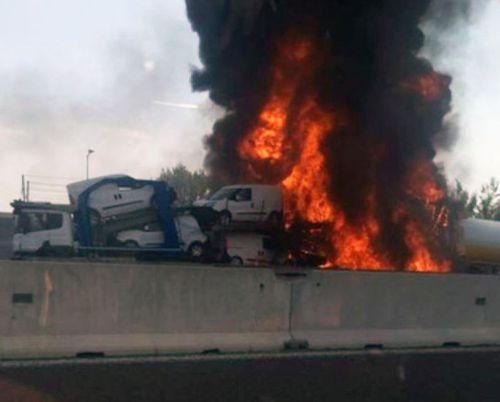 At least two people have been killed after a truck exploded. Picture: Twitter