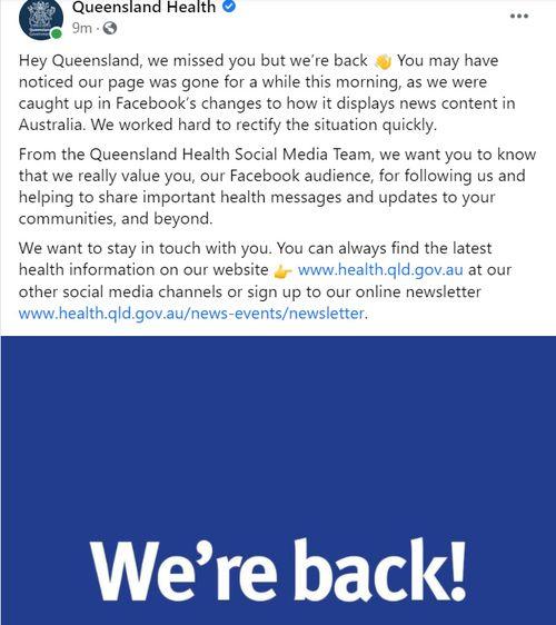 Facebook Queensland Health's page has been restored.
