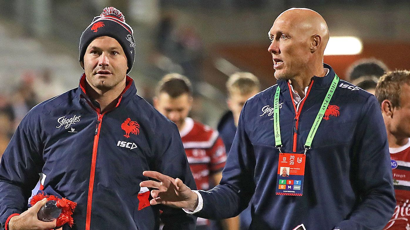 Boyd Cordner and right, Craig Fitzgibbon, assistant coach at the Roosters