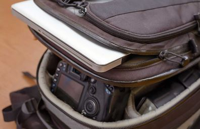 Hand luggage (carry on) with laptop and camera valuables