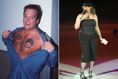 "Actor Tom Arnold tried to save his marriage with Roseanne Barr by getting her face inked on his chest for Valentine's Day. It didn't work... they divorced in 1994.<br><br>Since then, Tom had to endure a year-and-a-half of painful laser removal, telling TMZ: ""I'd never have sex with anyone until I got that removed.""<br><br>To make it worse, Tom got a tatt on his butt that says ""Rosie"", while Roseanne got a rose on her thigh with the words ""Property of Tom Arnold"". Both have since had them removed."