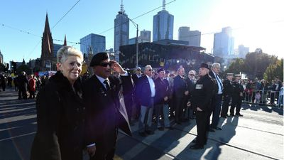 The Anzac Day march to the Shrine of Remembrance in Melbourne. (AAP)