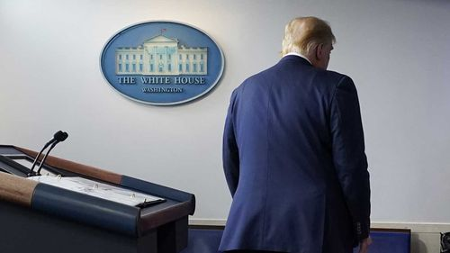 President Donald Trump walks away after speaking at the White House.