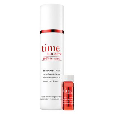 """<a href=""""http://mecca.com.au/philosophy/time-in-a-bottle-100-in-control-resist-renew-repair-serum/I-026842.html?cgpath=whatsnew#start=1"""" target=""""_blank"""">Philosophy Time in a Bottle 100% In-Control Resist Renew Repair Serum, $99.</a>"""