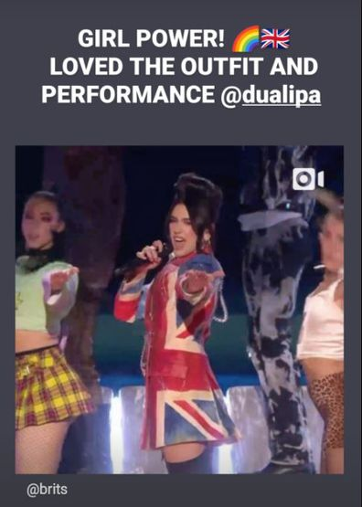 Geri Halliwell also gave Dua Lipa's performance a shout out on her Instagram Story