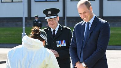 Prince William, Duke of Cambridge meets with Chiefs of the PSNI, Fire Service and Ambulance Service, as he attends a PSNI Wellbeing Volunteer Training course to talk about mental health support within the emergency services at PSNI Garnerville on September 09, 2020 in Belfast, Northern Ireland
