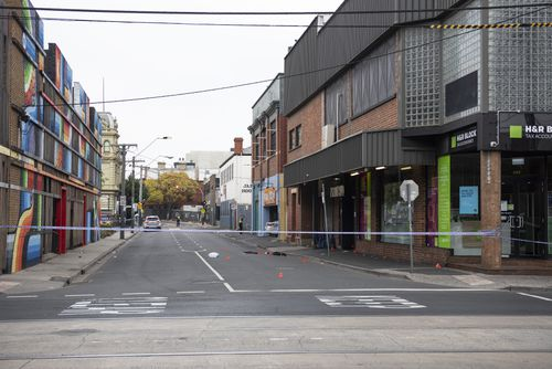 The scene the shooting outside Love Machine nightclub in Prahran, Melbourne. (AAP Image/Ellen Smith)