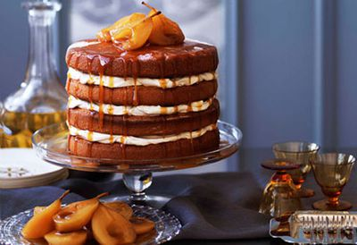 Brown sugar sponge cake with caramel pears