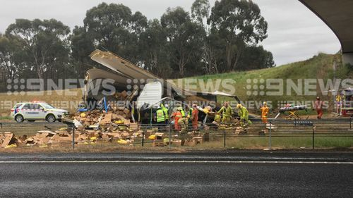 The truck has rolled in Seymour, Victoria.