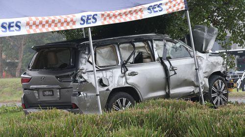 The allegedly stolen Lexus at the crash scene. (9NEWS)