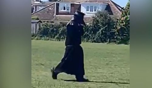 A man dressed as a 17th Century plague doctor has been spotted walking around a park in the village of Hellesdon, near Norwich.