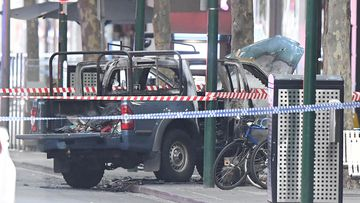 The terror suspect's vehicle had gas bottles inside when it was set alight.