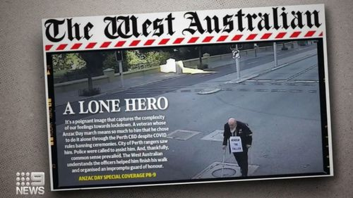 Solo Anzac marcher revealed to be anti vaxxer/ A man who staged a lone march through Perth on Anzac Day has been revealed to be an anti-vaccine, COVID lockdown protester