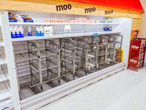 Empty supermarket shelves in Melbourne.