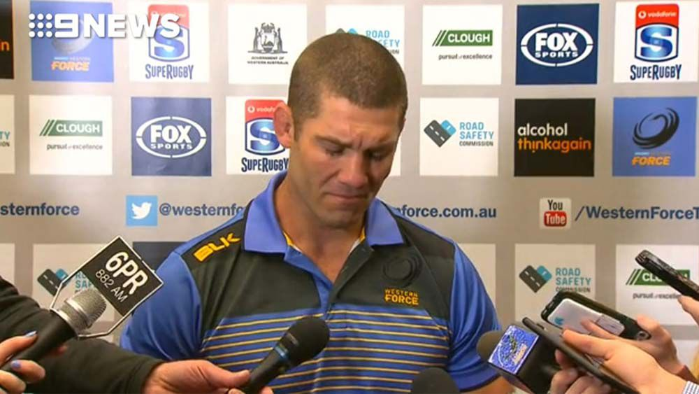 Emotional Matt Hodgson breaks down after news of Western Force's loss in Court