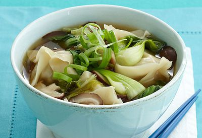 Steamed pork dumplings in broth