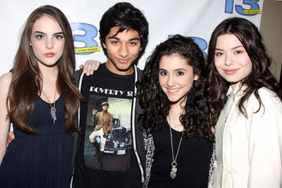 During her Broadway days with fellow child stars Elizabeth Egan Gillies, Mark Indelicato and Miranda Cosgrove.