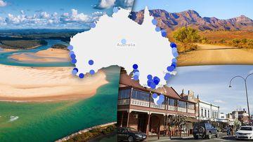 Popular tourism locations across Australia.